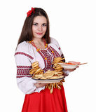 Woman with food. concept for shrovetide Royalty Free Stock Photos