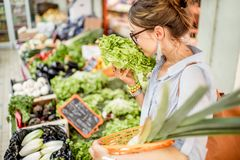 Woman at the food market. Young woman choosing a fresh salad standing with basket at the food market in France stock photography