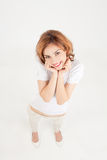 Woman fooling around with cuteness Stock Images