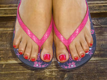 Woman Foot with Decorative Sandals Closeup Stock Photo