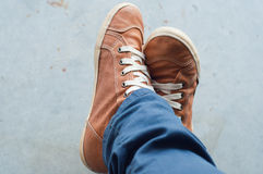 Woman foot and legs seen from above. Selfie. Royalty Free Stock Photos