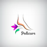 Woman foot pedicure logo.. Abstract design concept. For beauty salon, pedicure, cosmetic, organic care and spa vector illustration