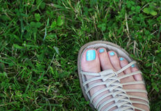 The woman foot standing on the green grass Stock Photo
