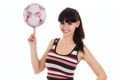 Woman with a football Stock Image