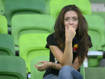 Woman football fan Stock Photos
