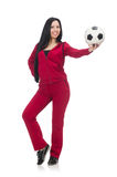 Woman with football isolated on white Stock Images