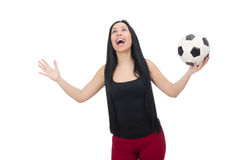 Woman with football isolated on white Stock Photography