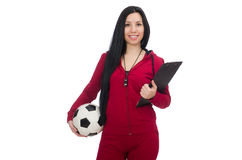 The woman with football isolated on white. Woman with football isolated on white Royalty Free Stock Photography