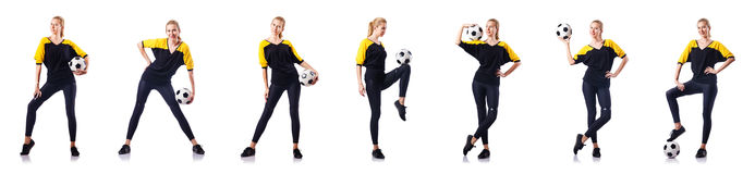 The woman football player on white Royalty Free Stock Photo