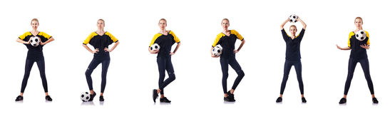 The woman football player on white Stock Images