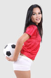 Woman and football Royalty Free Stock Photo