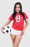 Woman and football royalty free stock images