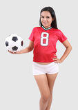 Woman and football stock photo
