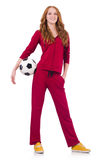 Woman with football Royalty Free Stock Photos