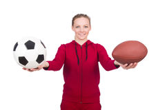 Woman with football Stock Photos