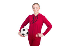 Woman with football Royalty Free Stock Images