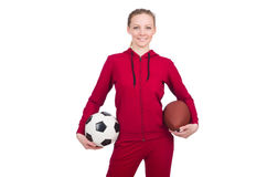 Woman with football Stock Photography