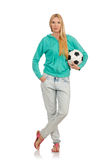 Woman with football Stock Image
