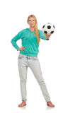 Woman with football Royalty Free Stock Photo