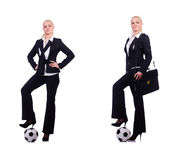 The woman with football on white Stock Photos