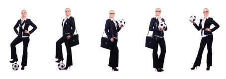 The woman with football on white Stock Photo