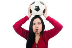 The woman with football on white. Woman with football isolated on white Stock Photography