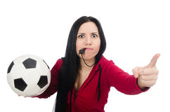 The woman with football on white. Woman with football isolated on white Stock Images