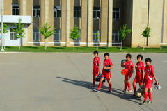Woman footballers, Sariwon, North-Korea Stock Images