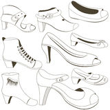 Woman footwear outlined vector. Outlined black vector illustration of nine different woman footwear shoes vector illustration