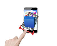 Woman forefinger pushing shopping cart with app button on smartp. Woman forefinger pushing small shopping cart with blue app button on smartphone, high angle Stock Photo