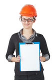 Woman foreman. In the construction helmet holding a tablet with a blank. isolated on white Stock Images