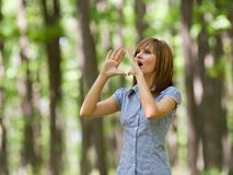 Woman in the forest Stock Photography