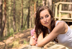 Woman in forest. Stock Photo