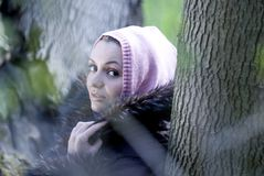 Woman in forest. Royalty Free Stock Photography