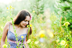 Woman in the forest. Beautiful woman walking in the forest Stock Images