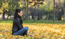 Woman in a Forest in the Autumn Stock Photos
