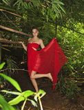 Woman in a forest of bamboo Stock Photography