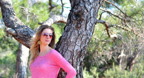 Woman in the forest. Woman in the mountain forest Royalty Free Stock Photography