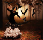 Woman in forest with nice dress and make-up. Photo manipulation stock illustration