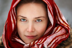 Woman in forest with red scarf. Woman in snow winter forest red scarf Stock Photography