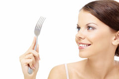 Woman with a fork Royalty Free Stock Photo