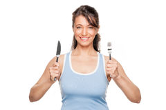 Woman with fork and knife. Full isolated woman with fork and knife stock photo