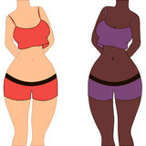 Woman  form, fitness curvy shape, plus Size beauty girl, two ladies of different nationalities Royalty Free Stock Image