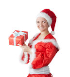 Woman in the form of Santa Claus. The woman in the form of Santa Claus with a gift box in a hand Stock Image