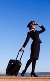 Woman in the form of the stewardess Royalty Free Stock Photos