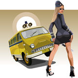 Woman in the form of traffic police with a retro car UAZ Stock Images