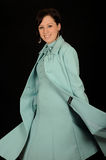 Woman in formal aqua dress Royalty Free Stock Images
