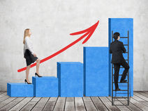 A woman in formal clothes is going up through a blue bar chart, while a man has found a shortcut how to reach the final point of t Royalty Free Stock Photo