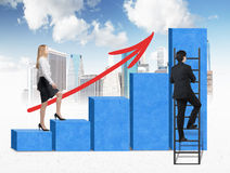 A woman in formal clothes is going up through a blue bar chart, while a man has found a shortcut how to reach the final point of t Stock Images