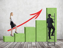 A woman in formal clothes is going up through a green bar chart, while a man has found a shortcut how to reach the final point of Royalty Free Stock Photo